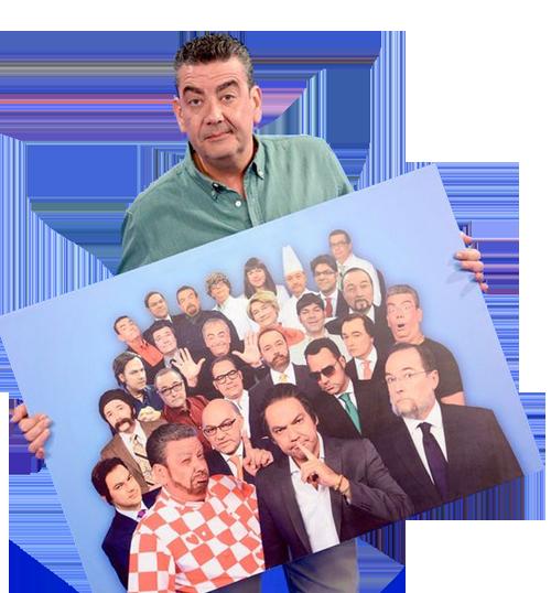 Javier Quero y los personajes de Los Teletipos en Telemadrid
